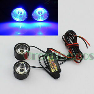 2x-Blue-Round-Bike-Motorcycle-LED-Decorative-Strobe-Flash-Flashing-Light-Lamp