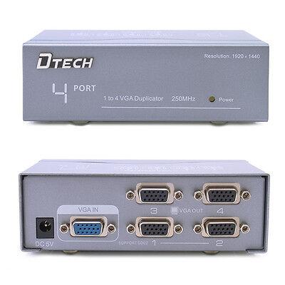 Powered 4 Port Vga Splitter Amplifier Box 1 Pc Video Distribution Into 4 Monitor