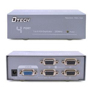 DTECH Powered 4 Port VGA Splitter Box 1 PC SVGA Video Distribution to 4 Monitor