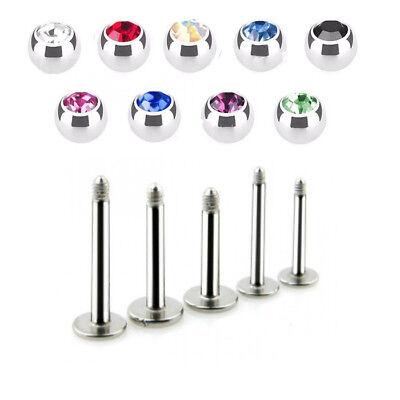 16g Gem (PAIR 16G CZ Gem Steel Labret Helix Tragus Lip Chin Piercing Monroe Ear Stud Ring )