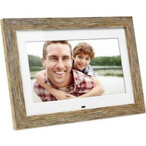 Aluratek 10 inch Distressed Wood Digital Photo Frame with Auto Slideshow Feature - 10 LCD Digital Frame - Wood - 1024 x