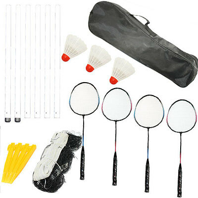 Professional 4 Player Badminton Game Set - 4 Rackets, 3 Shuttlecocks Net & Poles