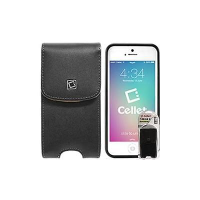For iPhone 5 / 5S Black Vertical Noble Case Pouch w/ Removable Spring Belt Clip
