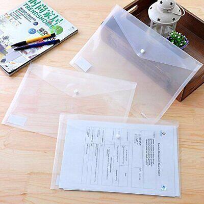 A4 Document File Bag Clear Envelope Holder Storage Case Snap Button Organizer