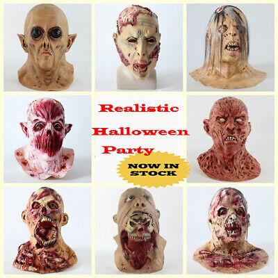 Life Like Masks Halloween (Latex Halloween Overhead Lifelike Demon Zombie America Horror Adult Grimace)