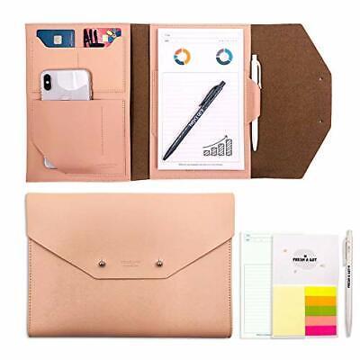 Envelop Style Pu Leather Padfolio Folder - A5 Size Writing Portfolio Pink