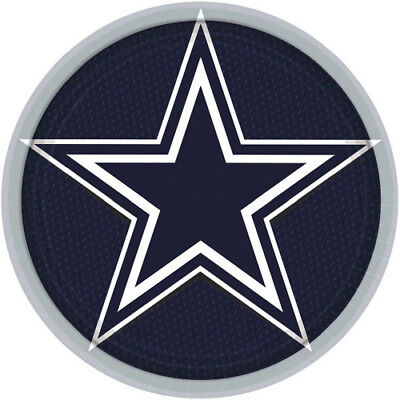 NFL DALLAS COWBOYS LARGE PAPER PLATES (8) ~ Birthday Party Supplies Dinner Lunch