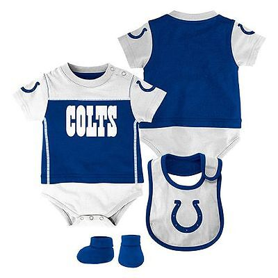 Indianapolis Colts 3 Piece Bodysuit, Bib, and Booties NFL Romper baby infant Indianapolis Colts Baby Bib