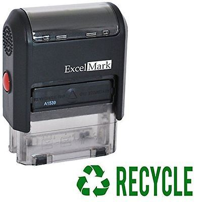 New Excelmark Recycle Self Inking Rubber Stamp A1539 Green Ink
