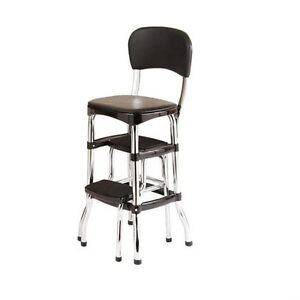 new vintage kitchen retro chair bar step stool black