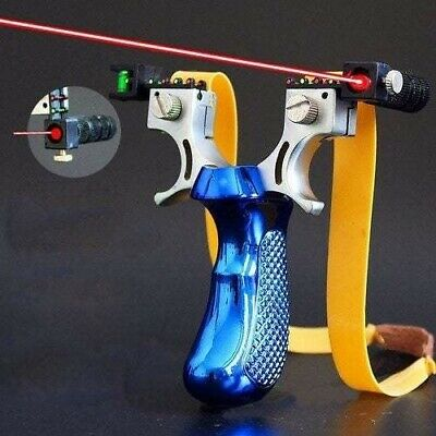 Slingshot Laser Aiming With Flat Rubber Band Outdoor Hunting Big Power Shooting