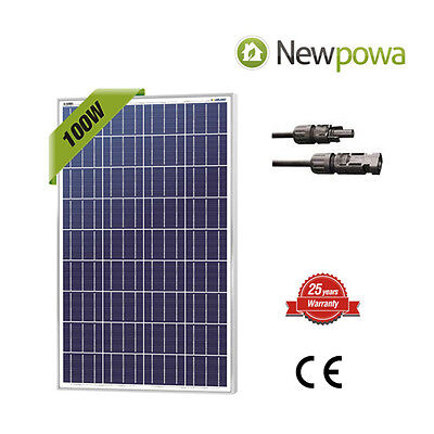 Newpowa 100 Watt 100W Watts Solar Panel 12V Volt Poly Off Grid Battery Charge Rv