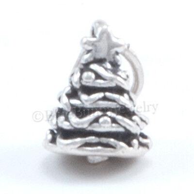 Christmas Tree Star Charm - small 3D CHRISTMAS TREE Star Charm Pendant 925 Sterling Silver Jewelry Tiny