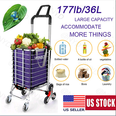 Folding Shopping Cart Portable Grocery Utility Climbing Cart With Removable Bag