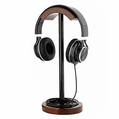 GEZICHTA Wood Headset Holder Earphone Stand Metal Supporting Bar Flexible Hea...