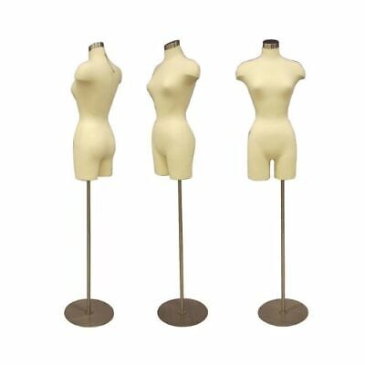 Adult Female Dress Form Mannequin Off White Pinnable Torso With Round Metal Base