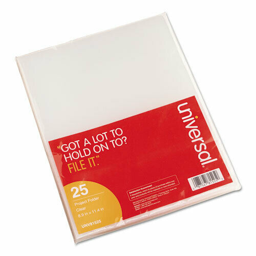 Project Folders, Jacket, Poly, Letter, Clear, 25/Pack UNV81525