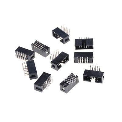 10pcs Dc3-10p 2.54mm 2x5 Pin Right Angle Male Shrouded Header Idc Socket Esus
