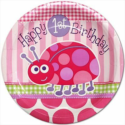 LADYBUG 1st Birthday SMALL PAPER PLATES (8) ~ First Party Cake Dessert Pink Girl](Ladybug Paper Plate)