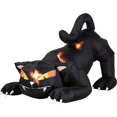 Animated Airblown Inflatable 5 Ft Black Cat With Turning Head Halloween Outdoor