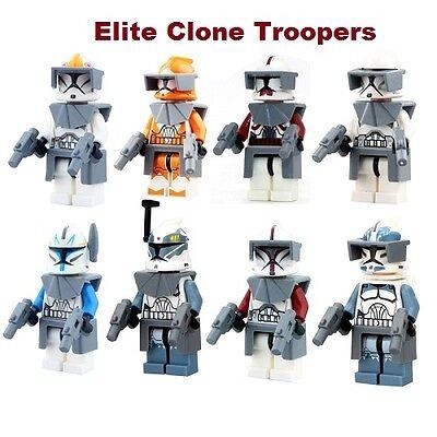 LOT OF 8 Star Wars elite custom clone trooper mini figures compatible W/ LEGO