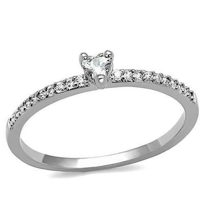 Delicate Heart Shape CZ & Side Accents Rhodium Engagement Ring Sz -