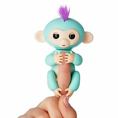 Fingerlings   Interactive Baby Monkey   Zoe  Turquoise With Purple Hair  Wowwee