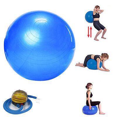 Yoga Ball 75 cm Exercise Ball W/Air Fitness Yoga Pilates Balance + Pump Blue