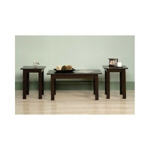 coffee table set 3 piece furniture living dining bed room oak brown
