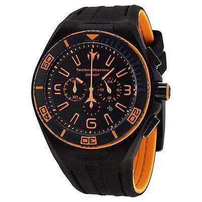 New Mens Technomarine 112005 Night Vision II Black Orange Military Sport Watch