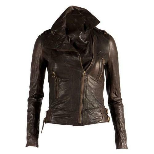 Womens Genuine Leather Biker Jacket Ebay
