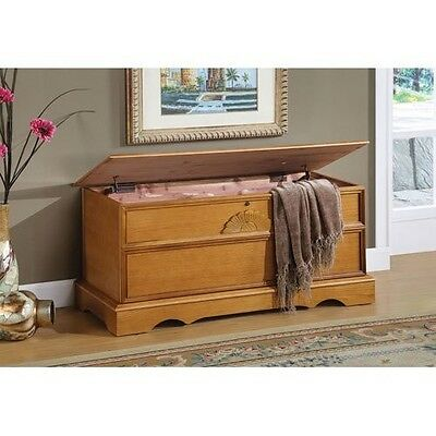 خزانة جديد Cedar Hope Chest Blanket Storage Box Oak Finish Lockable Hinged Lid Seating
