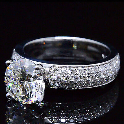 2.36 Ct. Natural Round Cut 3-Row Pave Diamond Engagement Ring - GIA Certified