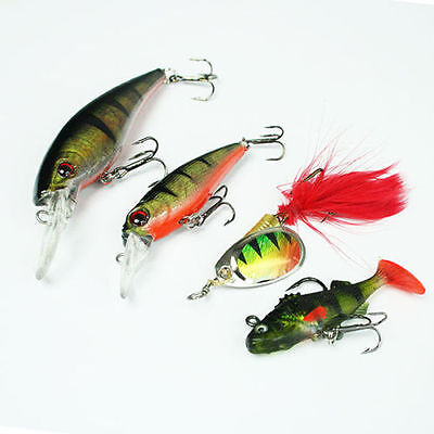 NGT Fishing Tackle 4 Pack Soft Bait, Plugs & Spinner Set, Pike Perch Trout Lures