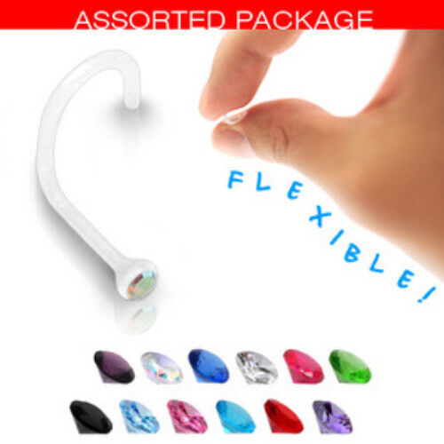 N#35 - 12pc Bioflex Gem Nose Screws 20g rings Wholesale Body Jewelry
