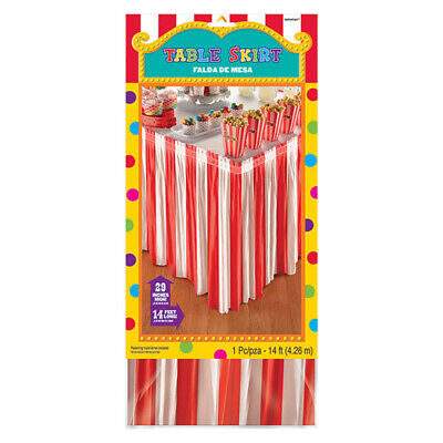 CARNIVAL PARTY PLASTIC TABLE SKIRT ~ Birthday Supplies Circus Decoration Red - Carnival Supplies