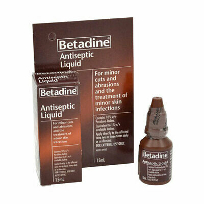 BETADINE ANTISEPTIC LIQUID 15ML FOR MINOR CUTS ABRASIONS MINOR SKIN INFECTIONS