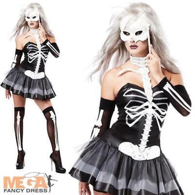 Sexy Skeleton Masquerade + Mask Ladies Fancy Dress Halloweeen Adults Costume