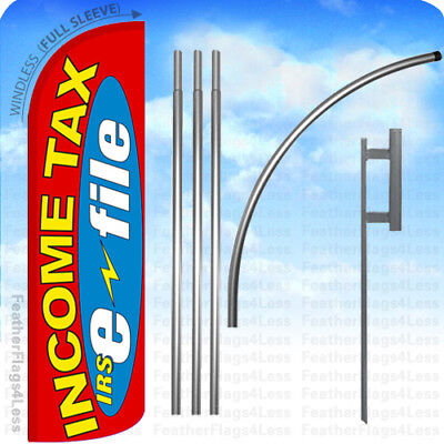 Income Tax Irs E-file - Windless Swooper Flag 15 Kit Feather Banner Sign Rq