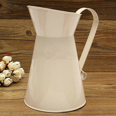Vintage Shabby Chic Cream Vase Enamel Pitcher Jug Tall Metal Wedding Home Decor