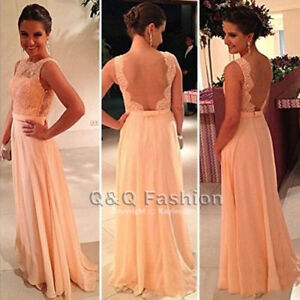 Backless Peach Blush Lace Evening Gowns Dress, Size XS - S -New
