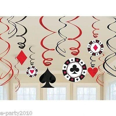 CASINO NIGHT SWIRL DECORATIONS (12) ~ Poker Game Room Birthday Party Supplies](Poker Decorations Birthday Party)