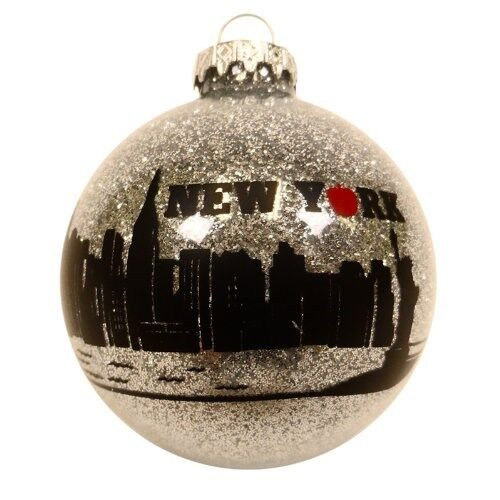 "Christmas New York City Ornament Big Apple Ornament (3"" Round Ball Glass)"