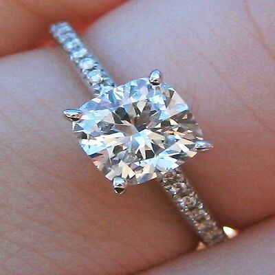 Natural 2.20 Ct Cushion Cut Diamond French Pave Engagement Ring GIA G,VS2 14K WG 1