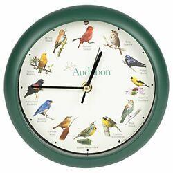 Audubon Society Singing Bird Wall / Desk Sound Clock, 8 Inch, Green