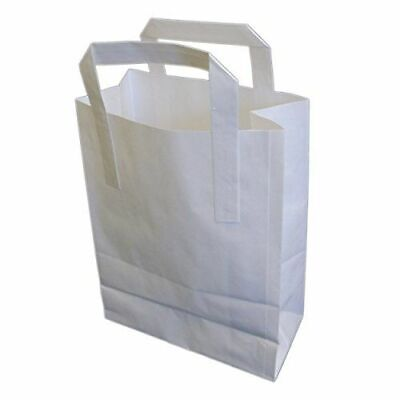 200 Medium SOS White Paper Carrier Kraft Bags with Handles Party Takeaway Food
