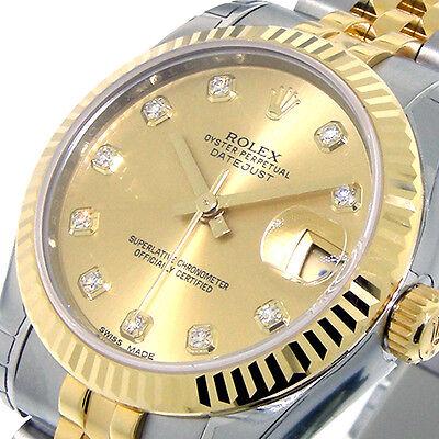 ROLEX 178273 MID SIZE 31 mm STEEL GOLD DATEJUST JUBILEE CHAMPAGNE DIAMOND