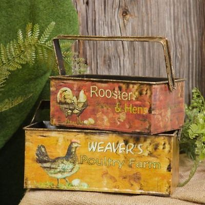 New Primitive Country Farmhouse Chicken 2 ROOSTER EGG BASKET Planter Bucket Box