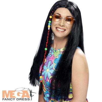 Mens 60's 70 S Kostüme (Black Hippy Wig Fancy Dress Hippie 60s 70s Ladies Mens Fancy Dress Party Wig)