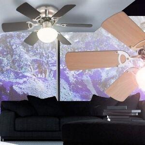 DECKEN VENTILATOR mit Lampe Leuchte Zugschalter Flügel Wärmer Lüfter GLOBO 0307